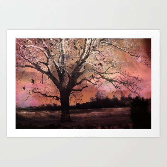 Surreal Trees Ravens Landscape  Art Print