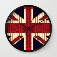 british flag Wall Clocks featuring BRITISH FLAG by shannon's art space