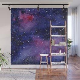 Watercolor Galaxy Nebula Pink Purple Sky Stars Wall Mural