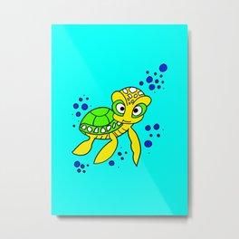 childishly Hand drawn turtle Metal Print