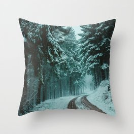 Snow in the woods Throw Pillow
