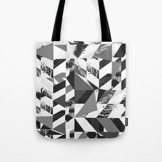 fragmented chevron, collage, photographic, monochrome,graphic Tote Bag