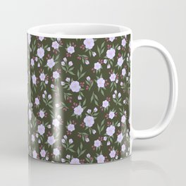 Lilac Flowers on Green - Floral Pattern Coffee Mug