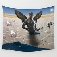 angel wings Wall Tapestries featuring angel  by mark ashkenazi