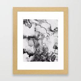 Black and grey Ink spill Framed Art Print