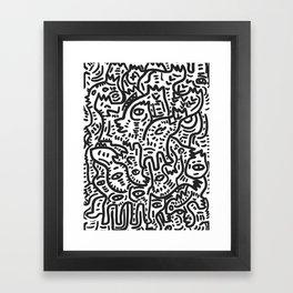 Graffiti Street Friends Black and White Doodle Framed Art Print