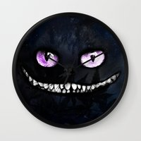 cheshire cat Wall Clocks featuring CHESHIRE by Julien Kaltnecker