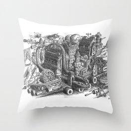 The City & Roller Coaster Caravan moving Throw Pillow