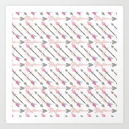Bohemian pastel pink gray floral arrows pattern Art Print