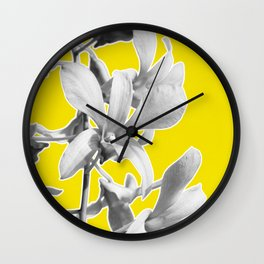 Yellow Grey Orchid Print Wall Clock