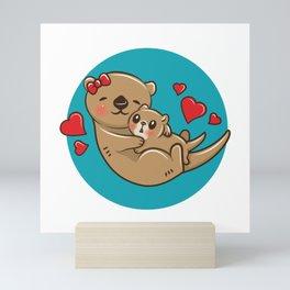 Otter Mom and Baby Mini Art Print