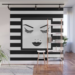 Black Lips Beauty Face Stripes Wall Mural