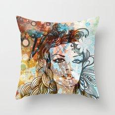 floral girl Throw Pillow