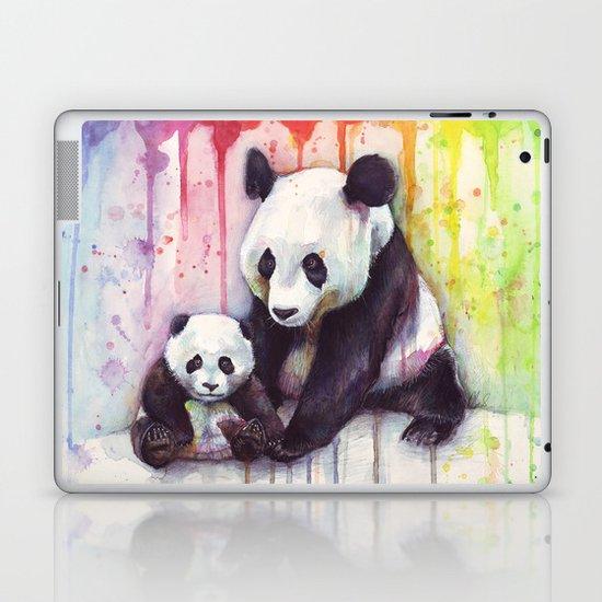 Pandas and Rainbow Watercolor Mom and Baby Panda Nursery Animals Laptop & iPad Skin