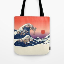 The Great Wave of Dachshunds Tote Bag