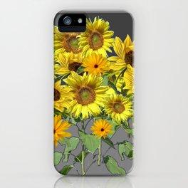 GREY YELLOW SUNFLOWER FIELD ART iPhone Case