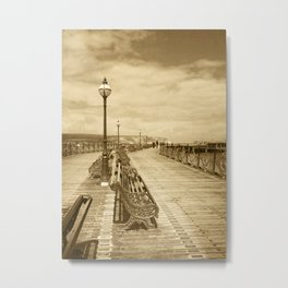 Swanage Pier In Sepia Metal Print