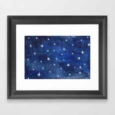 Midnight Stars Night Watercolor Painting by Robayre Framed Art Print