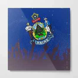 Maine State Flag with Audience Metal Print
