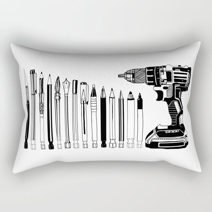 Art Power Tools Drill Bit Set Doodle Rectangular Pillow