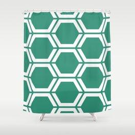 Illuminating emerald - green - Geometric Polygon Pattern Shower Curtain