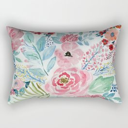 Pretty watercolor hand paint floral artwork. Rectangular Pillow