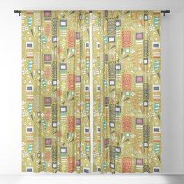tiki yellow Sheer Curtain