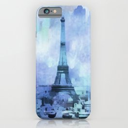 Blue Eifel Tower Paris France abstract painting iPhone Case