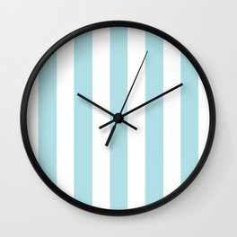 Powder blue - solid color - white vertical lines pattern Wall Clock