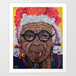 Old Cuban Lady with Cigar Art Print