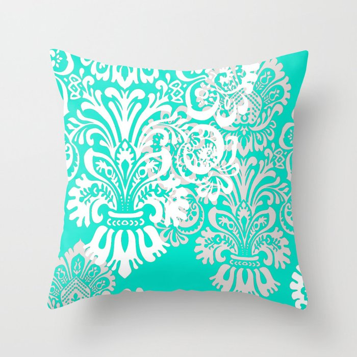 tiffany blue and white damask throw pillow by hhprint society6. Black Bedroom Furniture Sets. Home Design Ideas