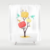 autumn Shower Curtains featuring Autumn by Freeminds
