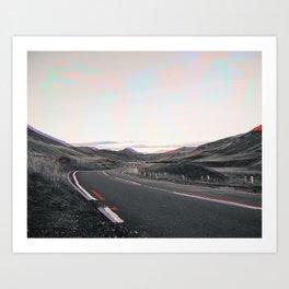 Open Road Glitch Art Print