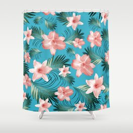 Tropical Flowers Palm Leaves Finesse #8 #tropical #decor #art #society6 Shower Curtain