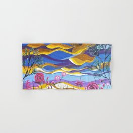 Pretty in Pink, Pink floral landscape, Abstract Landscape Hand & Bath Towel