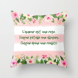 L'amour est une rose - French Quote Collection Throw Pillow