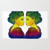 girl power Area & Throw Rugs featuring Rainbow Power Girl! by Luna Portnoi