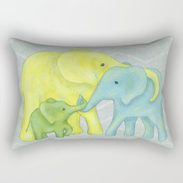 Elephant Family of Three in Yellow, Blue and Green Rectangular Pillow