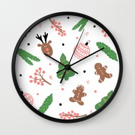 Christmas pattern in pink Wall Clock