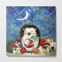 Autumn Woodland Friends Hedgehog Forest Illustration Metal Print