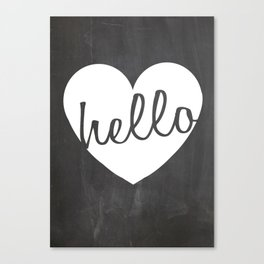 Modern Wall Art Print - Hello Heart Print on Chalk #2Chalk Heart Canvas Print