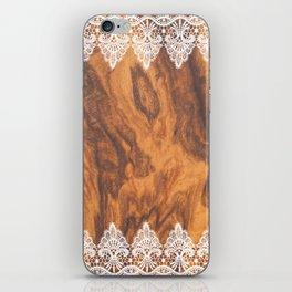 Brown Faux Wood& White Vintage Lace iPhone Skin