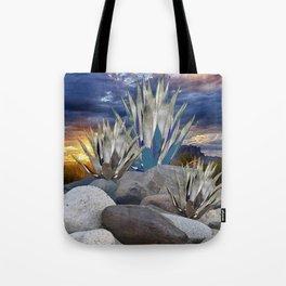 AGAVE CACTUS & GREY ROCKS SUNSET LANDSCAPE Tote Bag