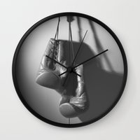 boxing Wall Clocks featuring Boxing BXNG by Rafael Igualada