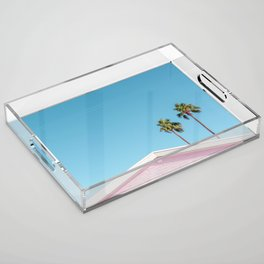 Pink House Roofline with Palm Trees (Palm Springs) Acrylic Tray