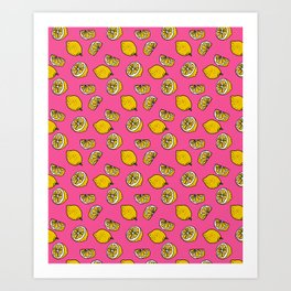 Retro Lemon Pop Art Print