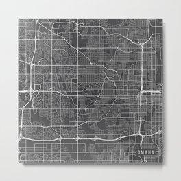 Omaha Map, USA - Gray  Metal Print