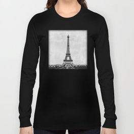 Eiffel tower in B&W with painterly effect Long Sleeve T-shirt