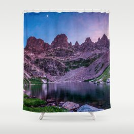 Purple Mountain Lake // Rocky Peak Crescent Moon Incredible Colorful Sunset Beauty Shower Curtain