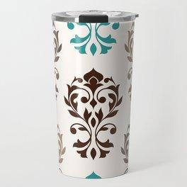 Heart Damask Art I Browns Teal Cream Travel Mug